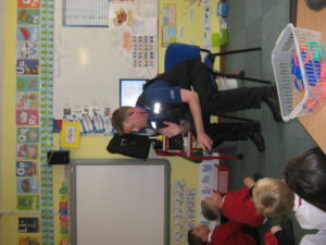 Mike Hanford came to talk to the children about his job as PCSO.